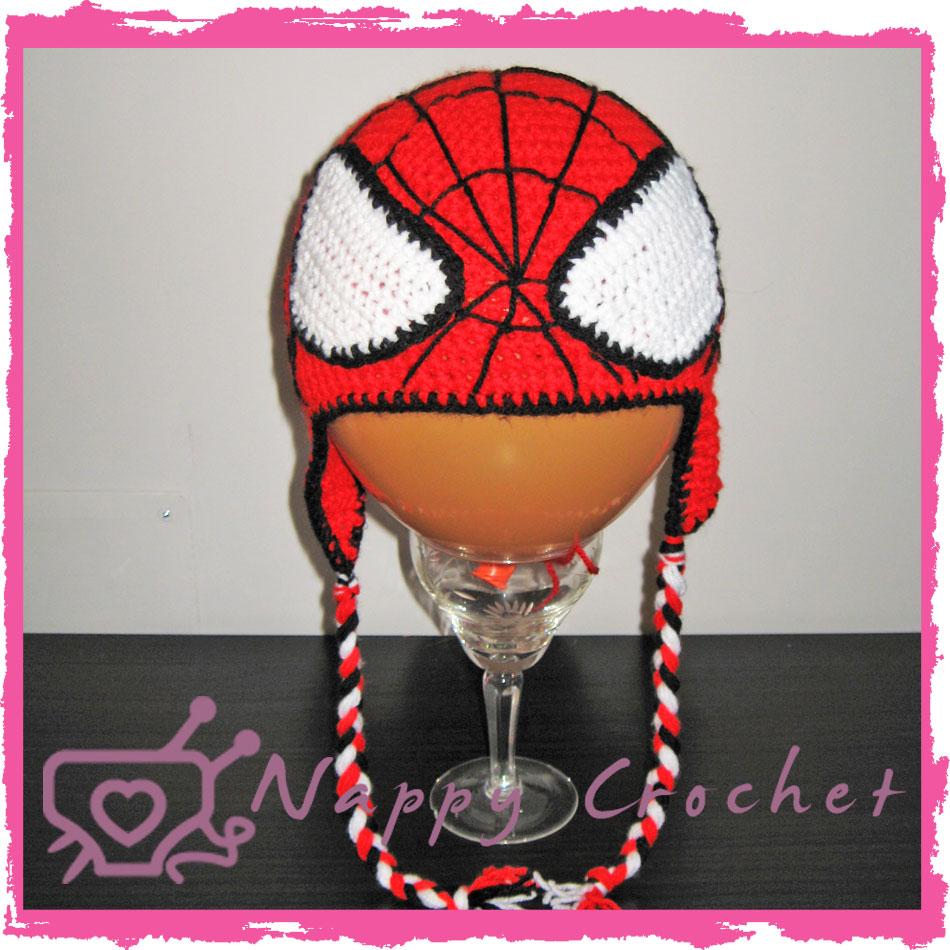 Cappellino Bimbo Stile Spiderman Con Paraorecchie Nappycrochet
